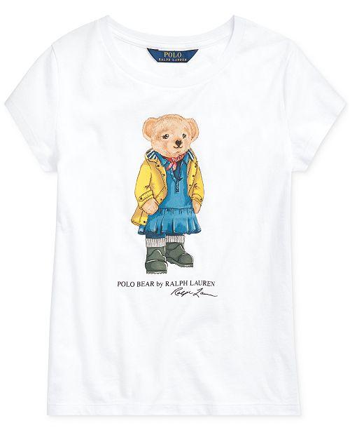 Polo Ralph Lauren Big Girls Raincoat Bear Cotton T-Shirt