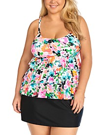Trendy Plus Size Tiered Tankini Top & Bottoms, Created for Macy's