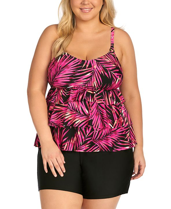 Island Escape Trendy Plus Size Tiered Tankini Top & Bottoms, Created for Macy's