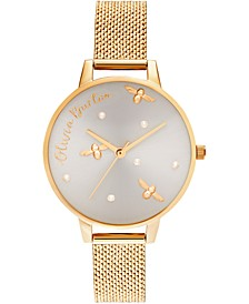 Women's Pearly Queen Gold-Tone Boucle Stainless Steel Mesh Bracelet Watch 34mm
