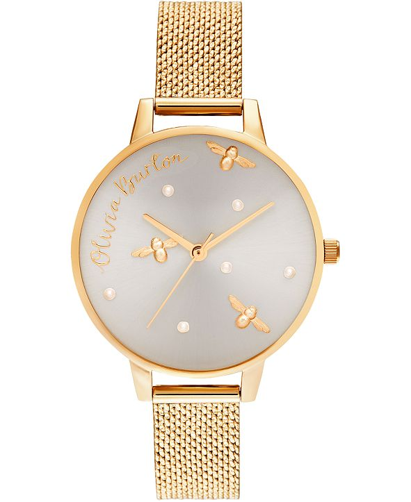 Olivia Burton Women's Pearly Queen Gold-Tone Boucle Stainless Steel Mesh Bracelet Watch 34mm