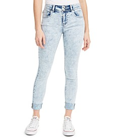Juniors' Cuffed Double-Button Skinny Jeans