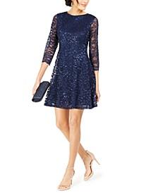 Petite Sequined Lace A-Line Dress