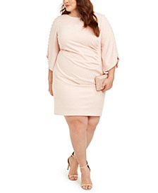 Plus Size Imitation Pearl-Sleeve Dress