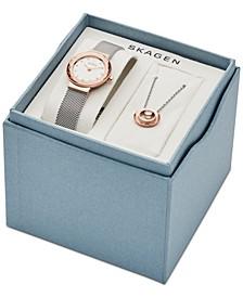 Women's Leonora Stainless Steel Mesh Bracelet Watch 25mm Gift Set