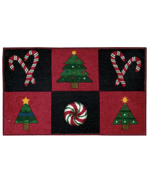"""Nourison CLOSEOUT! Holiday Grid 18"""" x 30"""" Plush Accent Rug"""