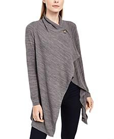 Petite Space-Dye Asymmetrical Sweater