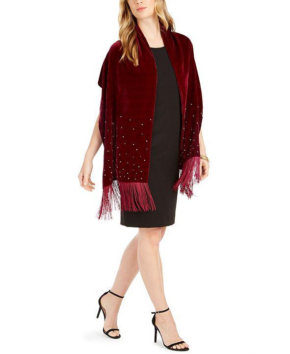INC International Concepts INC Embellished Velvet Wrap with Fringe, Created for Macy's