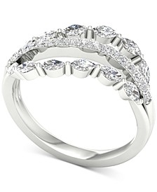 Diamond Triple Row Marquise Statement Ring (3/4 ct. t.w.) in 14k White Gold