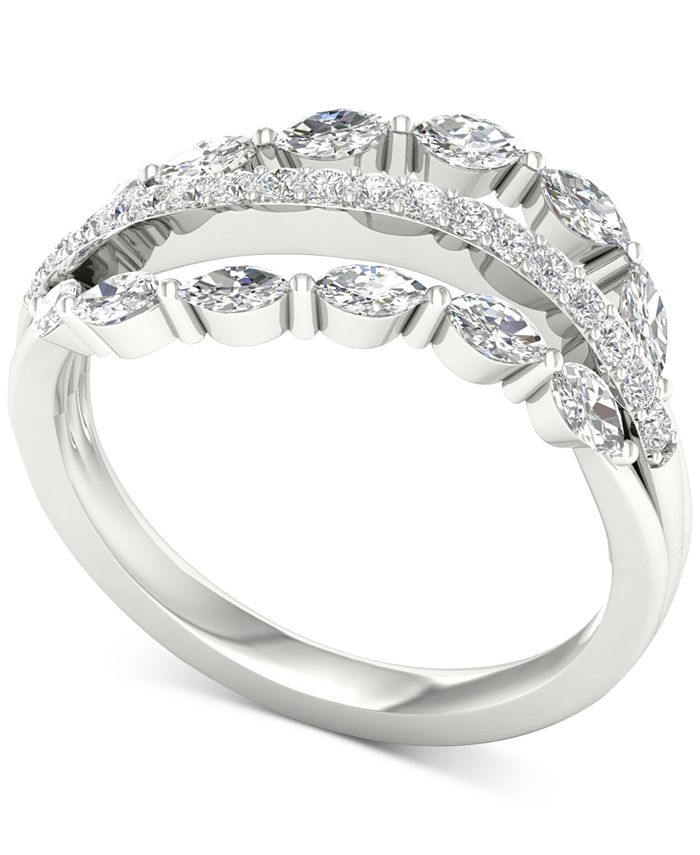 Macy's - Diamond Triple Row Marquise Statement Ring (3/4 ct. t.w.) in 14k White Gold