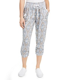 Juniors' Printed Ruched Cropped Soft Pants