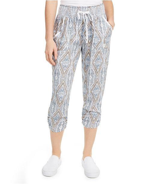Rewash Juniors' Printed Ruched Cropped Soft Pants