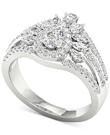 Diamond Pear & Marquise Multi-Row Cluster Ring (1-1/10 ct. t.w.) in 14k White Gold
