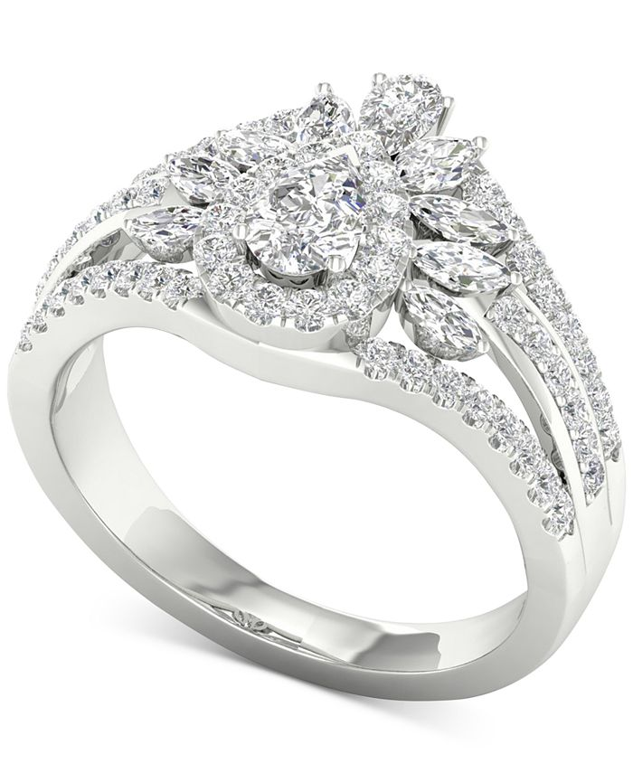 Macy's - Diamond Pear & Marquise Multi-Row Cluster Ring (1-1/10 ct. t.w.) in 14k White Gold