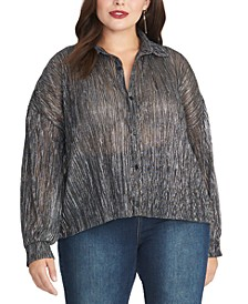 Trendy Plus Size Ben Metallic Crinkle Blouse