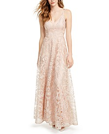 Juniors' Embroidered Mesh Gown