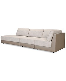 Mattley 3-Pc. Fabric Sectional Sofa with Bumper, Created for Macy's
