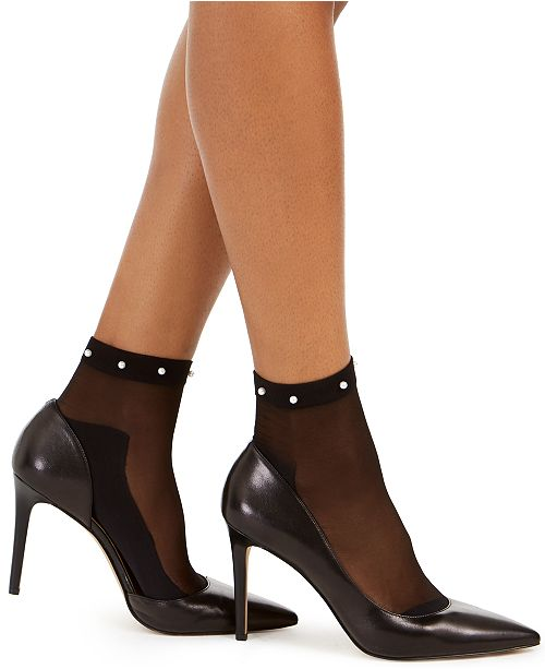 INC International Concepts INC Sheer Faux-Pearl Fashion Ankle Socks, Created For Macy's
