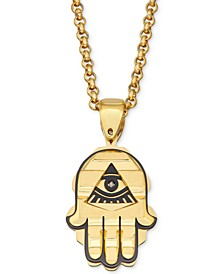 "Men's Two-Tone Hamsa Hand 24"" Pendant Necklace in Yellow & Black Ion-Plated Stainless Steel"