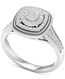 Diamond Multi-Halo Cluster Ring (1/3 ct. t.w.) in 10k White Gold