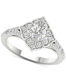 Diamond (3/4 ct. t.w.) Filigree Milgrain Engagement Ring in 14k White Gold