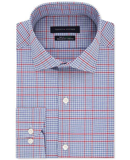 Men's Big & Tall ClassicRegular Fit Non Iron THFlex Stretch Check Dress Shirt