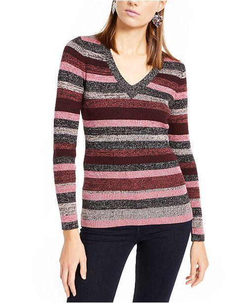 INC International Concepts INC Petite Striped Metallic Sweater, Created For Macy's