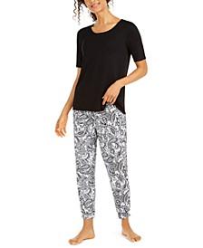 Solid T-Shirt & Printed Pajama Pants Set