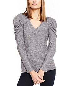 INC V-Neck Puff-Sleeve Knit Top, Created For Macy's