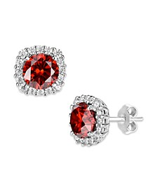 Multi Colored Cubic Zirconia Cushion Shape Stud Earring in Sterling Silver
