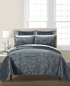 CLOSEOUT! Martha Stewart Collection Velvet Flourish Quilt & Sham Collection, Created for Macy's