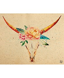 """Bull Skull with Crown of Flowers 36"""" x 24"""" Canvas Wall Art Print"""