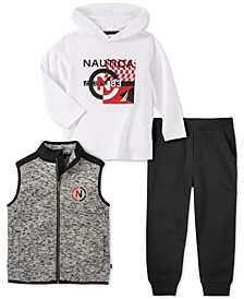 Little Boys 3-Pc. Full-Zip Sweater-Knit Vest, Hooded Logo T-Shirt & Fleece Sweatpants Set