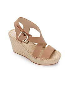 Olivia Cross Wedge Sandals