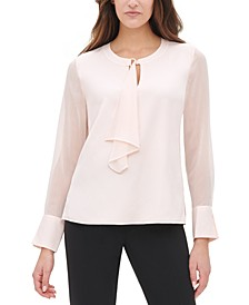 Crinkle-Chiffon Tie-Neck Top