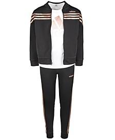 Big Girls Logo-Print T-Shirt, Linear Tricot Jacket & Tricot Jogger Pants