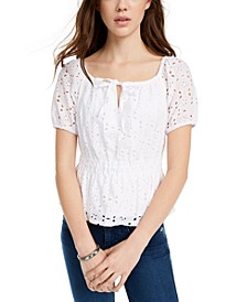 Juniors' Eyelet Top