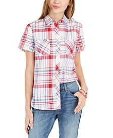 Cotton Plaid Camp Shirt