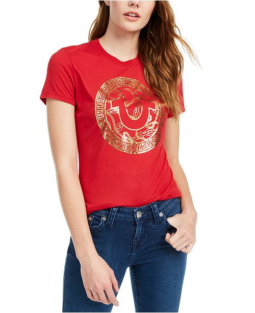 True Religion Metallic Horseshoe Logo Graphic T-Shirt