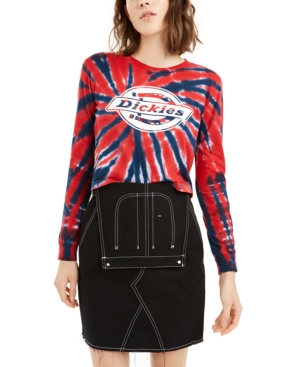 Dickies Juniors' Tie-dye Graphic Long-sleeved T-shirt In Blue + Red Tie Dye