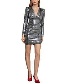 Metallic Puff-Shoulder Bodycon Dress