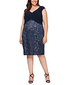 Plus Size Sequined Lace Crossover Dress