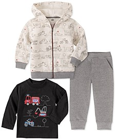 Baby Boys 3-Pc. Zip-Up Hoodie, Truck-Print T-Shirt & Jogger Pants