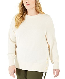 Plus Size Side-Snap Crewneck Sweater