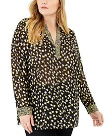 Plus Size Mixed-Print Popover Tunic