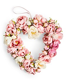 Valentine's Day White & Pink Rose Artificial Wreath, Created For Macy's