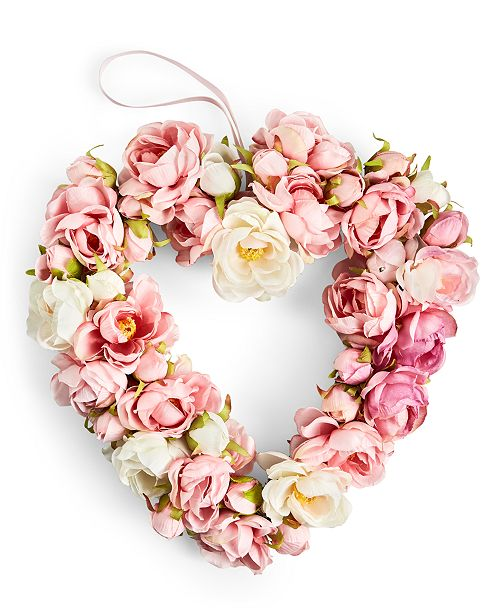 Martha Stewart Collection Valentine's Day White & Pink Rose Artificial Wreath, Created For Macy's