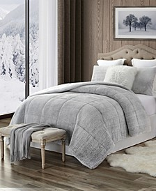 Plush Faux Fur and Sherpa Reversible Full/Queen Comforter Set