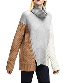 Patternblocked Turtleneck Sweater
