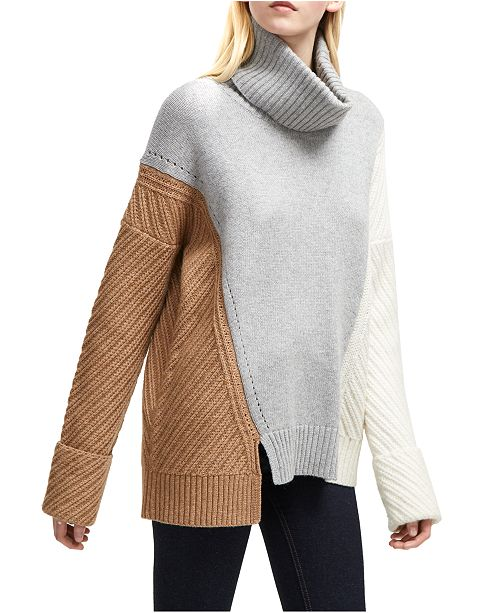 French Connection Patternblocked Turtleneck Sweater